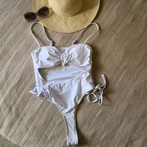 Cut Out White One Piece Swimsuit